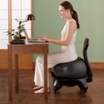 woman sittion on ball chair 06